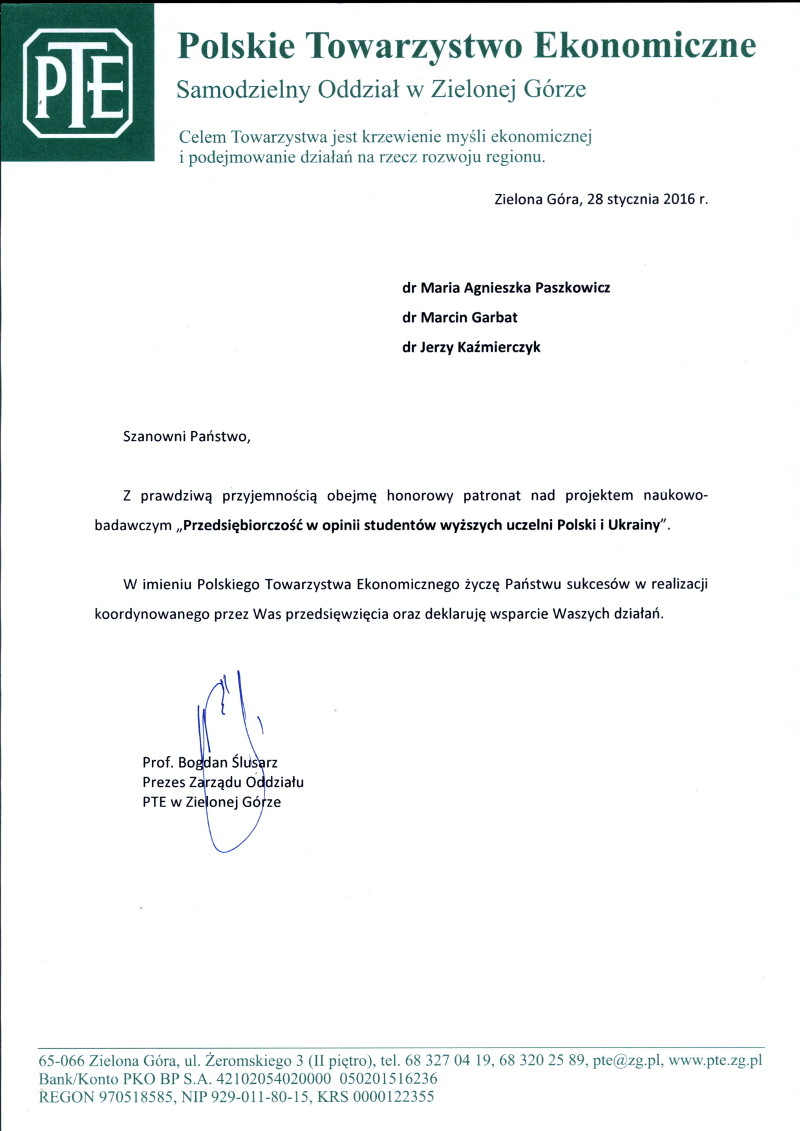 Patronat Polskie Towarzystwo Ekonomiczne